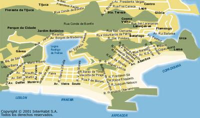 Mapa do centro e zona sul do Rio de Janeiro